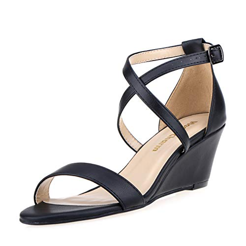 Women's Wedge Sandals Open Toe Cross Ankle Strap Heel Sandals 2 Inch Platform High Heels Dress Shoes Black Size 8