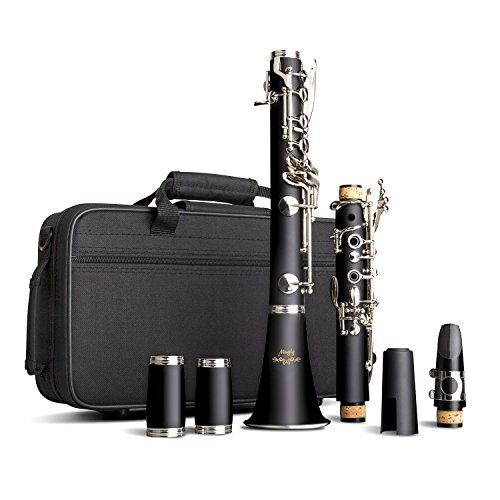 Mugig B Flat Clarinet 17 Keys with High-grade Black Bakelite Body and Copper Keys, Beginner Clarinet with Robust Contoured Carrying Case and Caring Kit, Perfect Instrument for Solo or Ensemble by Mugig