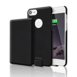 AOTINA iPhone6/6s/7/8 Battery Case, 4000 mAh Lithium Polymer Rechargeable Extended Battery Portable Charger Case, Protective Power Charging Case Wireless for Apple iPhone 6/6s/7/8 (4.7 Inch)- (Black)