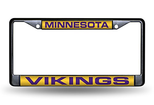 Rico Industries NFL Minnesota Vikings Laser Cut Inlaid Standard Chrome License Plate Frame, 6