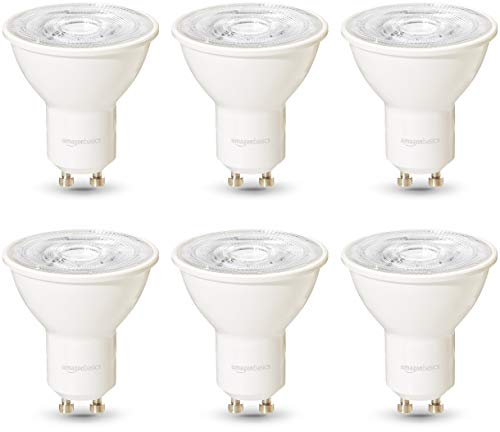 AmazonBasics Commercial Grade LED Light Bulb | 50-Watt Equivalentt, GU10, Soft White, Dimmable, 6-Pack