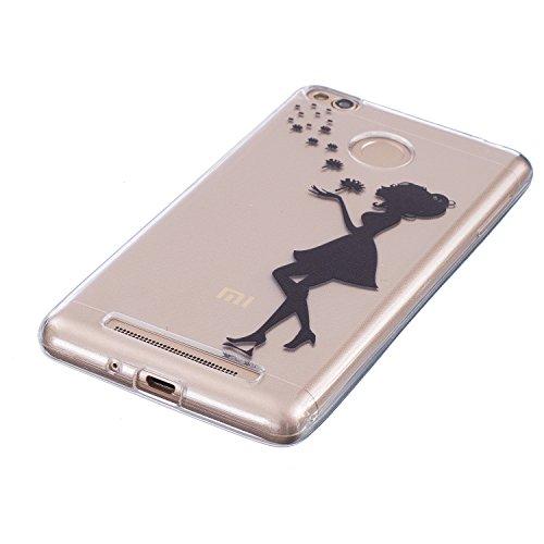 Funda Cover Xiaomi Redmi 3S ,Ukayfe Funda de Silicona TPU para Xiaomi Redmi 3S Carcasa Transparente Soft Clear Case Cover Funda Blanda Flexible Carcasa Delgado Ligero Caja Anti Rasguños Anti Choque co Chica negro