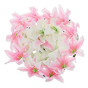 Baoblaze Artificial Lily Funeral Memorial Silk Flower Wreath Tomb Sweeping Cemetery Flower Wreath Decoraion 2