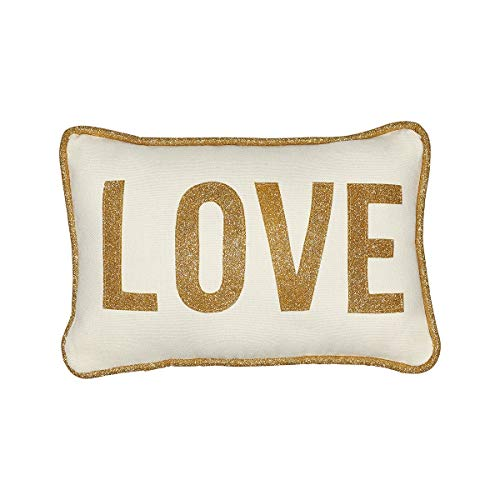 Collins Fresh and Original - Love Mini Lumbar Throw Pillow with Gold Glitter Applique, Inspirational or Christmas