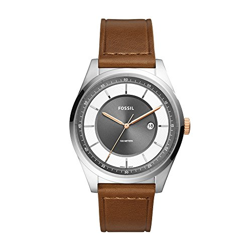 Fossil Men's 'Mathis' Quartz Stainless Steel and Leather Casual Watch, Color:Brown (Model: FS5421)