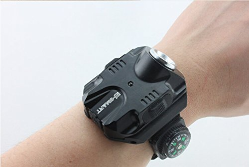 Fomatrade Super Bright Wrist LED Light R2 Rechargeable Waterproof LED Flashlight Wristlight (Black)