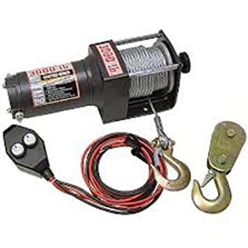 amazon com wood power winch 2000lb winch heavy duty atv power in ATV Winch On ATV amazon com wood power winch 2000lb winch heavy duty atv power in out controls clevis hook, pulley block and hand saver hook pull knob cam action