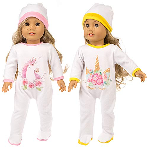 Ecore Fun 2 Sets 16-18 Inch Doll Clothes | for America Doll and Other Girl Doll Accessories | 2 Pcs Hats + 2 Pcs Tracksuits with - Inch Cloths 17