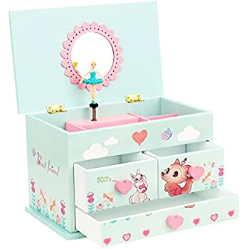 Amazoncom SONGMICS Ballerina Musical Jewelry Box for Girls 3
