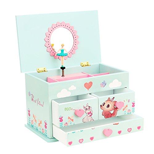 SONGMICS Ballerina Musical Jewelry Box for Girls 3 Drawers Blue UJMC23BU