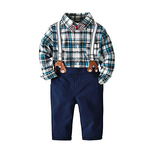 Baby Boys Gentleman Bowtie Long Sleeve Shirt Suspender Straps and Pants Clothing Sets Outfit (Blue, ()