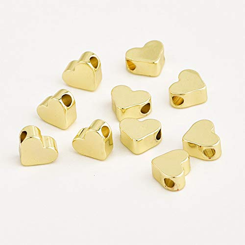 (Pukido 10pcs Filling Gold Filled Heart Beads for Jewelry Making Findings DIY Bracelet Silver Rose Gold Bead Necklace Charm Pendant 7mm - (Color: 14K Gold) )