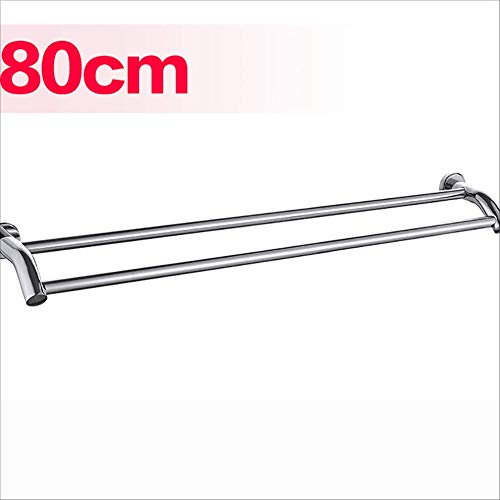 (MSJIAO 304 Stainless Steel Double-bar Towel Rack, Polished Surface Wall-Mounted Double-Pole Bathroom Hardware Accessories,80CM)