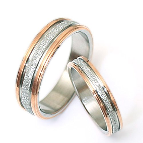 Gemini His and Her Two Tone Rose Gold Couple Titanium Wedding Anniversary Rings Set 6mm & 4mm Width Men Ring Size : 8.5 Women Ring Size : 8.5 Valentine's Day Gifts