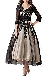 ABaowedding Women's Lace Applique Tea-Length Mother of Bride Dresses Prom Gowns
