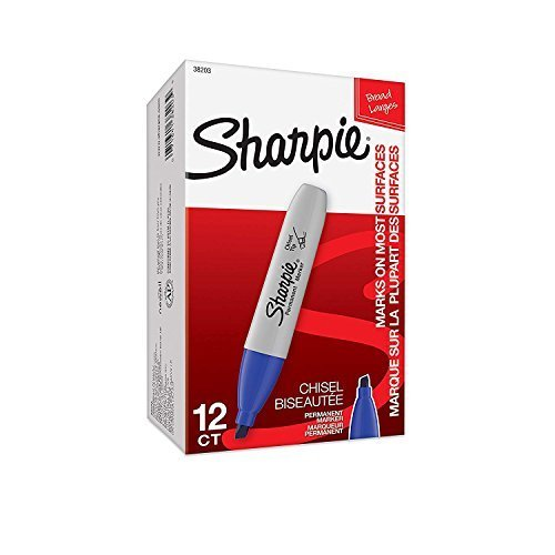 Sharpie Permanent Markers, Broad, Chisel Tip, 12-Pack, Blue (38203)