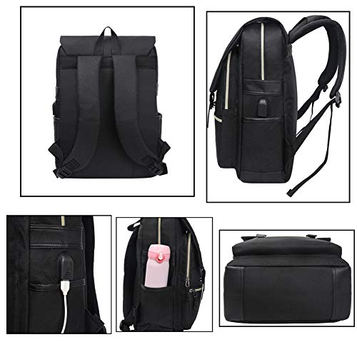 Unisex College Bag Fits up to 15.6'' Laptop Casual Rucksack Waterproof School Backpack Daypacks (AllBlackWithUSB) by Ronyes (Image #4)