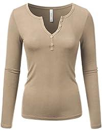 Sexy Deep V-Neck Henley T-Shirt For Women