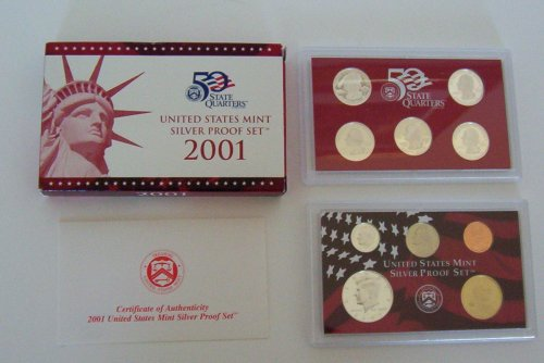 2001 U. S. Mint Silver Proof Set with Original Box and COA