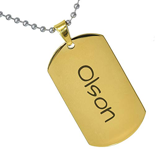 Tungsten King Stainless Steel Baby Name Olson Engraved Gold Plated Gifts for Son Daughter Parent Friends Significant Other Initial Quote Customizable Pendant Necklace Dog Tags 24'' Ball Chain