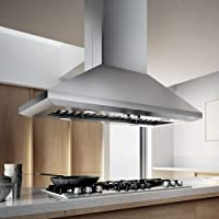 ELICA ELI142SS Island Chimney Hood with 1,200 CFM Internal Blower, Hush Sound Suppression, 2 Dishwasher-Safe Stainless Steel Baffle Filters, 4 Halogen Lamps and Rotary Knob Controls
