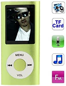 Digital Media Players 1.8 inch TFT Screen Metal MP4 Player with TF Card Slot, Support Recorder, FM Radio, E-Book and Calendar(Silver) (Color : Green)