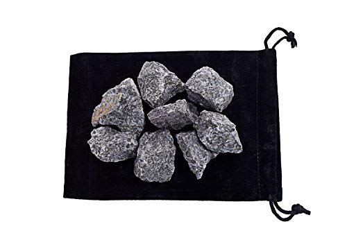 Zentron Crystal Collection 1 Pound Indigo Gabbro in Velvet Pouch Large Natural Rough Bulk Raw Stones for Wire Wrapping, Tumbling, Polishing, Wicca and Reiki