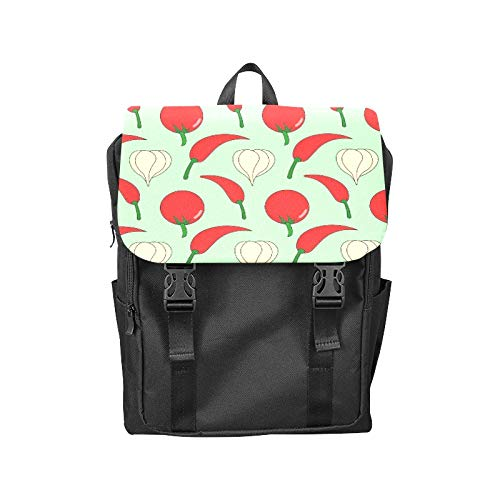 - Fashion Flip Cover Notebook Green Garlic Vegetables Naturally Organic Print Laptop Backpack Travel Men Women Business Computer Backpack Oxford Fabric Vintage School Shoulder Bag