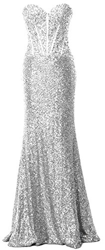 MACloth Women Mermaid Prom Dress Strapless Sequin Long Formal Party Evening Gown Plateado