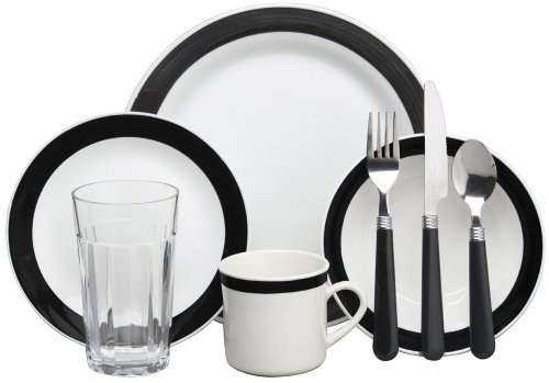 Gibson Home 72556.32RM Essex 32-Piece Dinnerware Set, Black/Cream (Dish Sets Complete)