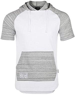 Men's Short Sleeve Pullover Hoodie Lightweight Soft Jersey Hooded T-Shirt