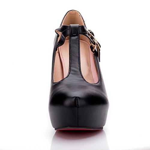 YE Damen T Steg Pumps Blockabsatz Plateau High Heels Geschlossen mit Riemchen Elegant Schuhe Schwarz