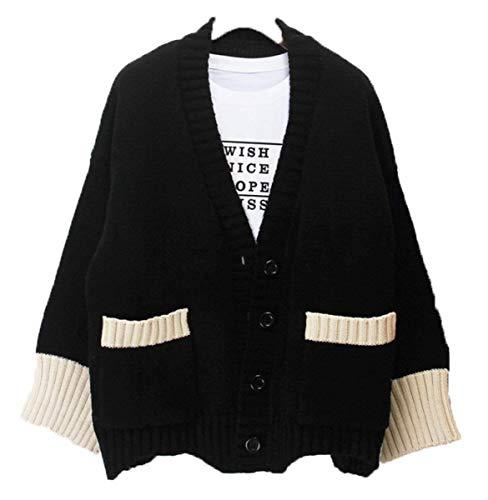 Outerwear Schwarz Lunga A Sciolto Moda Scolara Jacket Con Casual Giovane Caftano Cute Maglia Ragazze Tasche neck Autunno V Donna Giacca Giubotto Cardigan Manica v7wBB