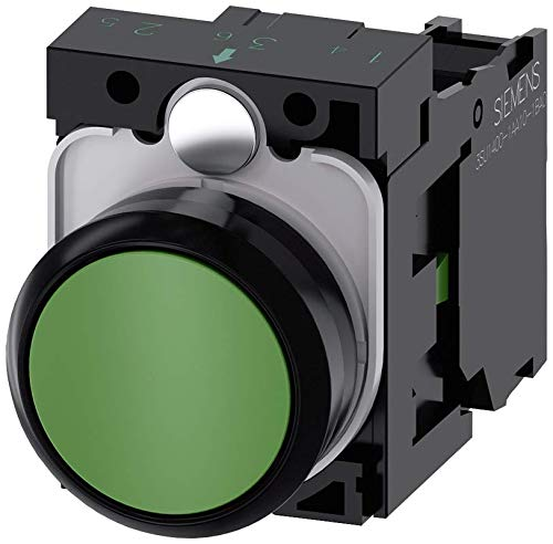 Siemens 3SU11000AB401BA0 Pushbutton, 5to500volts, Plastic, IP66, IP67, IP69K Protection Rating, Black Plastic, 22mm, Green