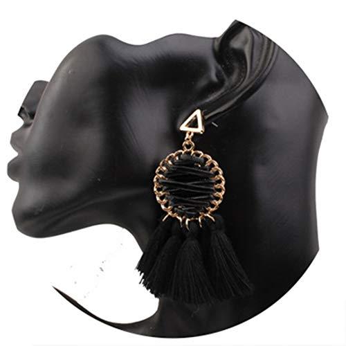 Woven Bracelet Hand Mesh - Hand-Woven Vintage n Mesh Tassel Earrings For Women Triangular Alloy Fringe Dangle Earrings Female Wedding 4