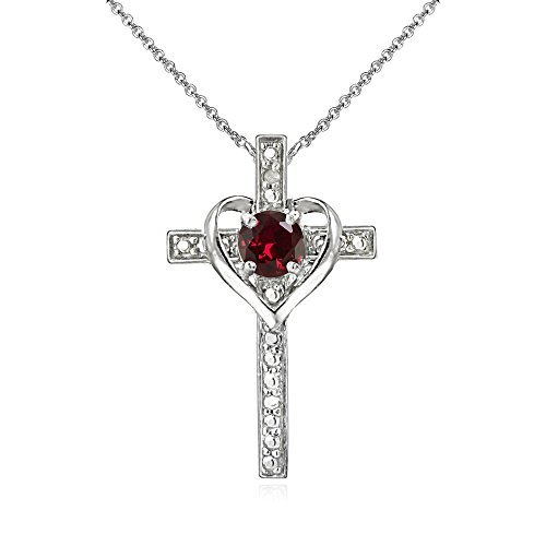 Sterling Silver Created Ruby Cross Heart Pendant Necklace for Girls, Teens or Women Ruby Cross