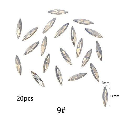 Leaf Design Diamond (JIEPING Acrylic Nail Rhinestone DIY Nail Tips Decoration Diamond, Leaf Design 3D Nail Art Crystal Decor White)