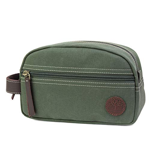 41mQb4WiCsL - Timberland Men's Toiletry Bag Canvas Travel Kit Organizer, Olive, One Size