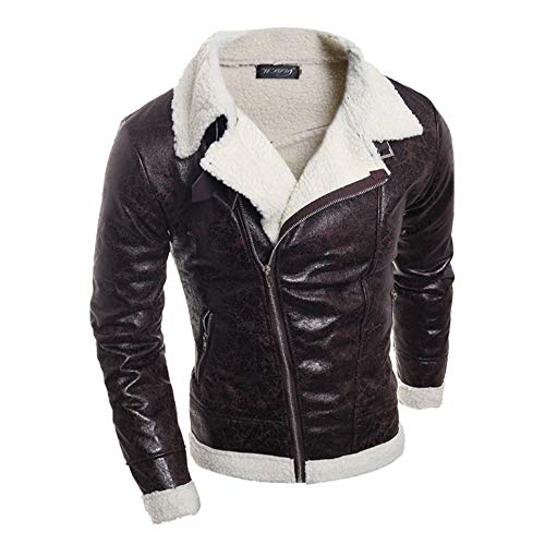 kemilove Men's Winter Spread Collar Lamb Cashmere Lined Suede Leather Trucker Jacket Coats
