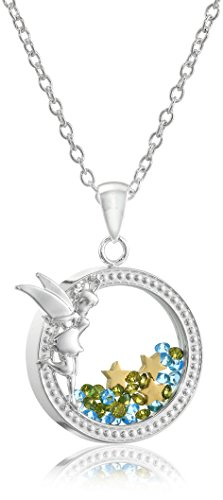 Disney Silver Plated Tinkerbell Silhouette Shaker Pendant Necklace
