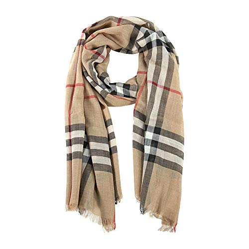 Burberry Unisex Lightweight Check Wool and Silk Scarf Camel (Best Burberry For Men)