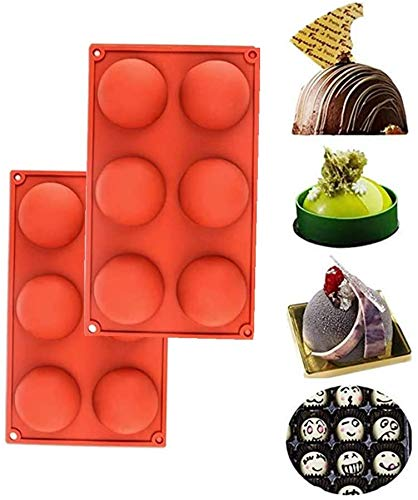 2 Pcs 6 Half Rebound Circle Round Medium Holes Silicone Mold For Chocolate, Cake,Desserts,Baking DIY,Cupcake Baking Pan kitchen Bakeware (2 pcs)