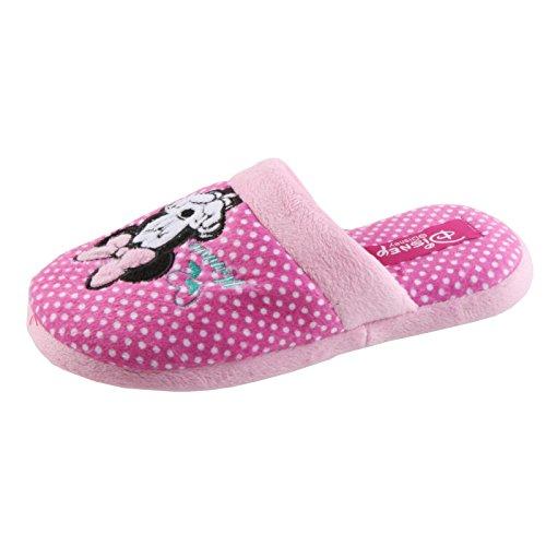 Tierhausschuhe Disney Minnie Maus Tier Hausschuhe Pantoffel Schlappen Slipper Kuscheltier Plüsch Mädchen, TH-Minnie Slipper gepunktet pink