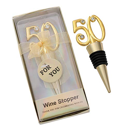 Gold 50th Anniversary Bottle Stoppers - 6