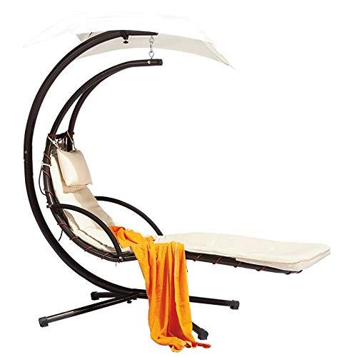 Yankuoo Sunlight Outdoor Moon Hanging Chair, Wrought Iron Swing Rocking Chair Bed, Comfortable Lounge Chair, Indoor And Outdoor Living Room Bedroom Garden Patio Furniture