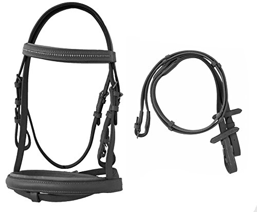 Pony English Padded Bridle with Crystal Accents and with Web Reins - English Pony Tack