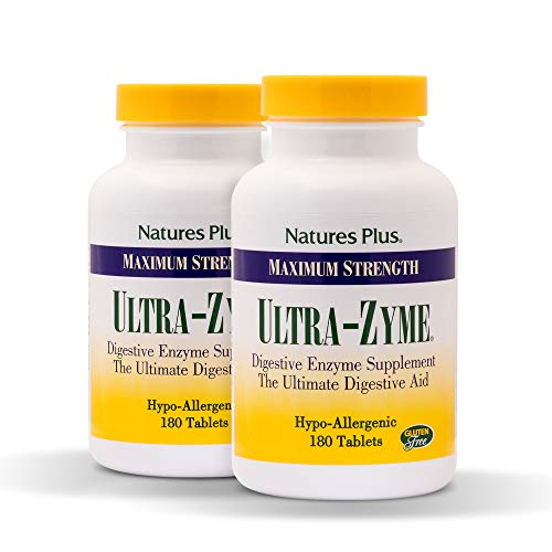 Natures Plus UltraZyme (2 Pack) - 120 mg Ox Bile, 180 Tablets - Maximum Strength Digestive Enzyme Supplement, Anti Inflammatory, Weight Loss Support, Promotes Nutrient Absorption - 90 Servings - Nutrients 180 Tablets
