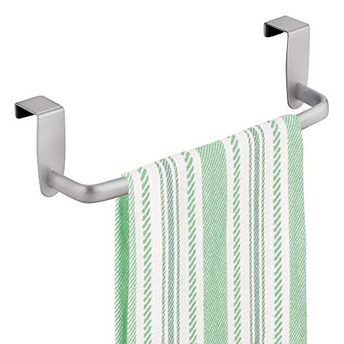 mDesign Modern Kitchen Over Cabinet Strong Steel Towel Bar Rack - Hang on Inside or Outside of Doors - Storage and Organization for Hand, Dish, Tea Towels - 9.75