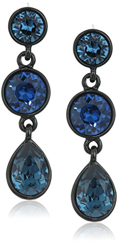 Kenneth Jay Lane Black Ring - Kenneth Jay Lane Black and Sapphire 3 Drop Post Drop Earring
