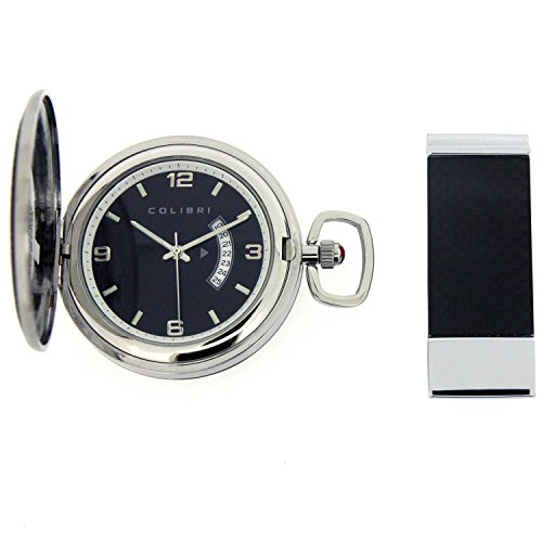 - Colibri Pocket Watch Polished Steel with Black Trim and Money Clip